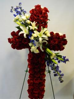 Cross of Red Roses