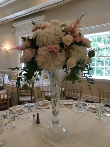 Romantic Blush Tall Centerpiece Design