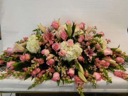 Pinks,Peaches and Cream Casket Spray