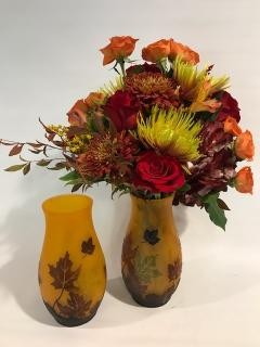 Vintage Look Vase of Fall Flowers